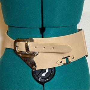 Beige wide metal accent belt one size